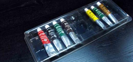 Blistere plastic cu tuburi acrilice pentru pictura