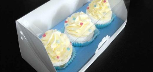 Cutii carton cu insert pentru 3 cupcakes Ambalaje Plastic | Ambalaje Din Plastic