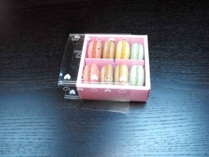Compartment macaron box packaging.