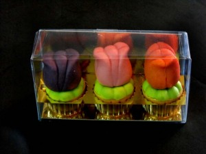 Plastic boxes for marzipan tulips